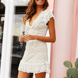 Joy Mini Dress | Sexy V Neck Lace White Ruffle