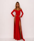 Joy Long Gown | Off Shoulder Long Sleeve Bodycon Sexy Long Dress