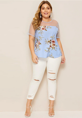 Juliana Blouse | Plus Size Casual Floral Print Blouse Short Sleeve Curved Hem Blouses Mesh Patchwork