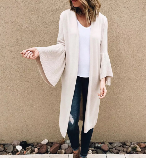 Kailey Cardigan | Collarless Flare Sleeve Knitted Side Pockets Open Front Knit