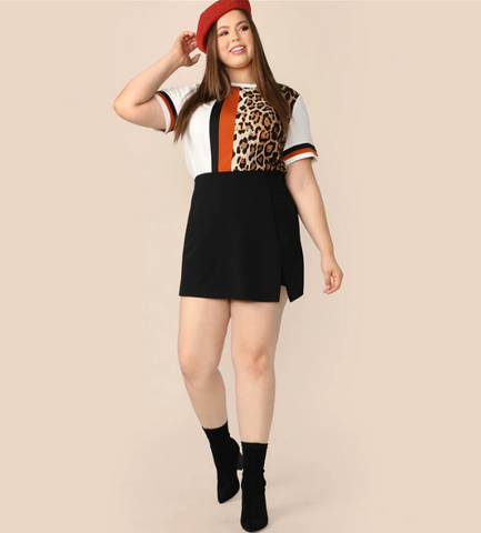 Kali T-Shirt | Plus Size T-shirts Cut and Sew Striped and Leopard Multicolor Short Sleeve