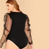 Karen Bodysuit | Plus Size Black Mesh Sleeve Form Fitted Elegant Sheer Office