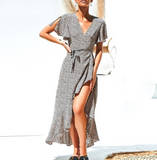 Karol Maxi Dress | Lace Up Leopard Boho Casual V Neck Short Sleeve Dot Split