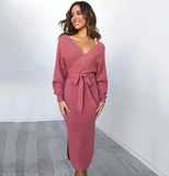 Kayla Mid Dress | Knitted Sweater Wrap Belted Tunic Midi Long Sleeve Double V Neck Split