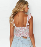 Kaylani Crop Cami | Floral Print Ruffle Backless Tie Front Bohemian