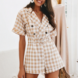 Kenia Romper | Casual V-neck Plaid Vintage Rompers High Waist belt short
