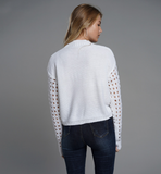 Kenna Sweater | High Neck Knitted Long Sleeve Cropped Short Slim Pullover White