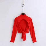 Kennedi Blouse | Solid Color Bow Tie T-shirt High Neck Long Sleeve Basic T Shirt