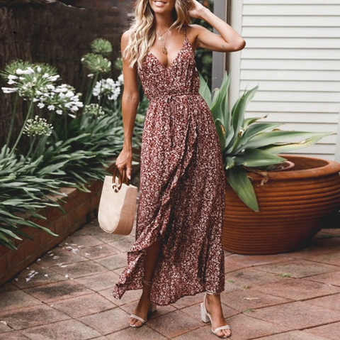 Kenzie Maxi Dress | V Neck Straps Ruffle High Waist Long