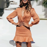 Kenzie Mini Dress | Deep V-Neck Ruffle Long Sleeve