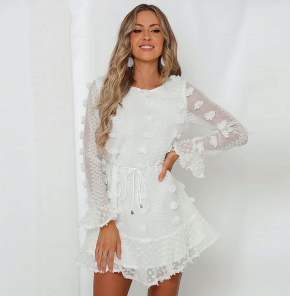 Kiara Dress | Flower Embroidery Mesh Long Sleeve Ruffled Lace Up