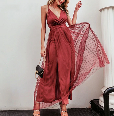 Kimora Maxi Dress | Deep V Neck Backless Strap Long Pink Red