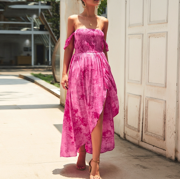 Lainey Maxi Dress | Off Shoulder Ruched Long Split