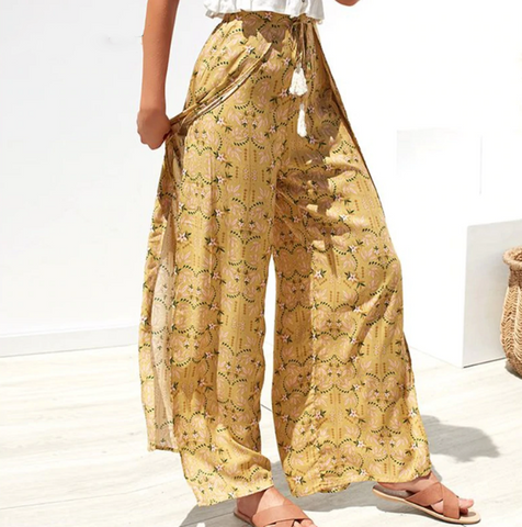 Lauren Pants | High Waist Wide Leg Pants Split Trousers