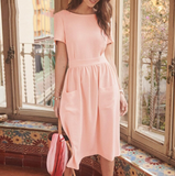 Leah Dress | Backless Pockects Buttons Elegant Pink Black