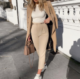 Lena Pants | Casual Blazer Pants High Waist Buttons Loose Ankle Length