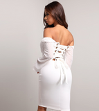 Leslie Dress | Long Sleeve Midi White Mesh Backless Lace Up Elegant
