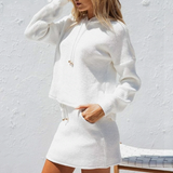 Lexi Two Piece Set | Two Piece Lace Up Cotton Hooded Sweatshirt Oversized Knitted