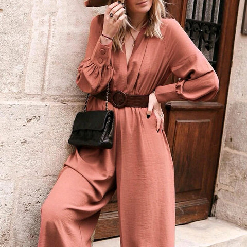 Hilary Flowy Jumpsuit | summer jumpsuits women Long sleeve sash belt pocket rompers Vintage wide leg loose ladies overalls