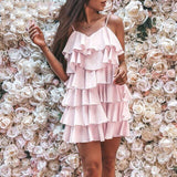 Samantha Layered Chiffon Dress | backless chiffon strap summer pink dress women ruffle mini Female beach dress