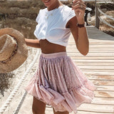 Tara Layered Polka Skirt | polka dot ruffle summer pink skirt pleated skirt beach skirt