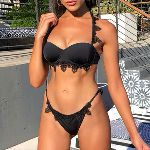 Tatiana Lavish Bikini |  swimsuit Halter swimwear women High cut bikini set new bathing suit Summer swimming