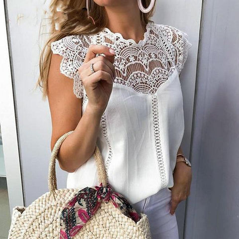 Britany Lace White Blouse | embroidery chiffon shirts