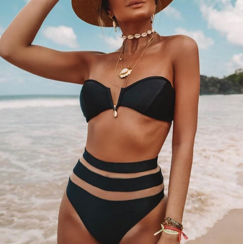 Lilian Bikini | High waist 2 piece mesh See through black white
