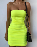 Lilith Dress | Neon Yellow Ruched Strapless