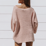 Lilith Sweater | Pocket Knitted V Neck Loose Pullover Soft Pink