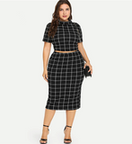 Lucia Two Piece Dress | Plus Size Two Piece Set Mock Neck Short Sleeve Plaid Crop Top And Skirt Set