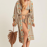 Mariam Swimsuit Cover Up |  Vintage Floral Print Beach Long Sleeve