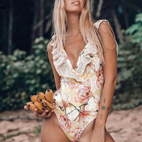 Melany Swimsuit | Floral print Hollow out ruffle one-piece