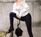 Miley Blouse | Vintage One Shoulder Single-Breasted Elegant Puff Sleeve Ruffle