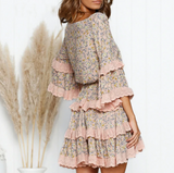 Millie Mini Dress | Ruffle Floral Short Boho Lace V Neck