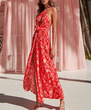 Neri Maxi Dress | Bohemian Floral Printed Backless Lace Up Halter Backless High Split Maxi Dress