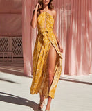 Neri Maxi Dress is an Asymmetrical long dress with high split details that makes it more high fashion.