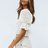 Nina Blouse | Hollow Out Bohemian Short Sleeve Lace Up White