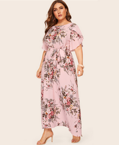 Noa Maxi Dress | Plus Size Pink Floral Print Petal Sleeve Belted  Short Sleeve