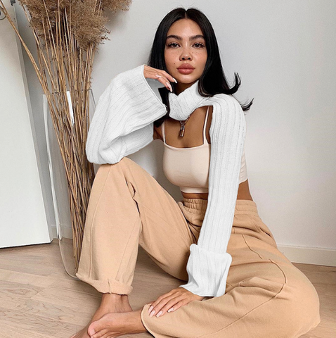 Nyla Sweater | Turtleneck Long Sleeve Knit Cropped Sweater Top