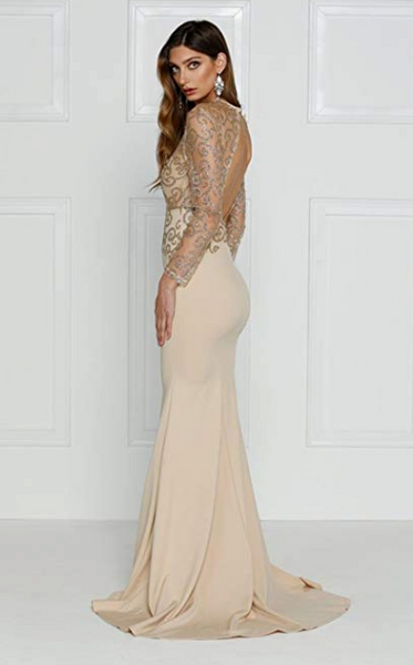 Oaklee Maxi Dress | O Neck Long Sleeve Bodycon Maxi Dress for Prom