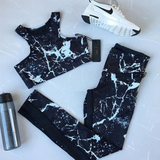 Olivia Two Piece Set | Tracksuit Black Fitness Set Ink Painting Sportswear Crop Top Leggings