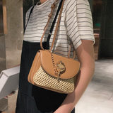 Paislee Shoulder Bag | Weave Straw Beach Handbag Casual Saddle