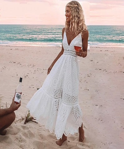 Pearl Maxi Dress is an elegant White long dress with hollow out details