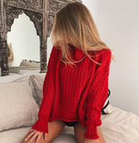Poppy Sweater | Knitted Turtleneck Sweater Casual Loose Jumper Pullover