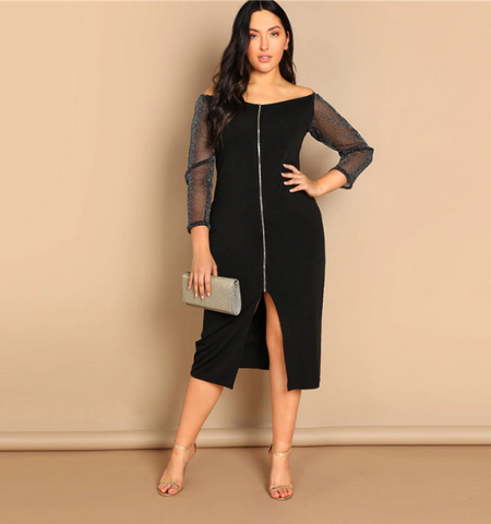 Reina Dress | Plus Size Black Off the Shoulder Long Mesh Sleeve Sheath Party Dress Office Midi Dresses