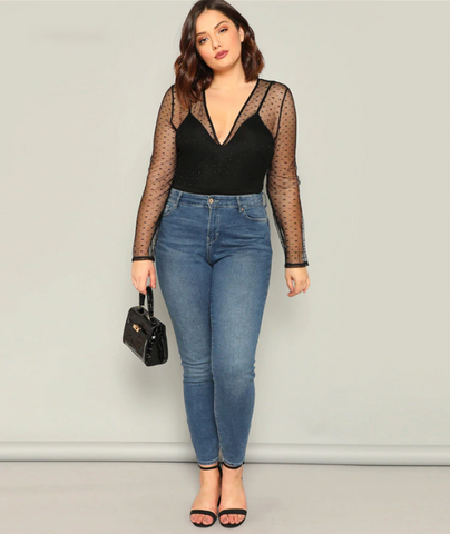 Rosa Bodysuit | Plus Size Black V Neck Contrast Dot Mesh Long Sleeve Stretchy