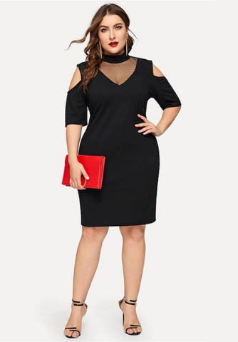 Ruby Dress | Plus Size Black Mesh Insert Cold Shoulder Elegant Slim Fit Party Knee Length Dresses