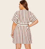 Saige Dress | Plus Size Beige Deep V-Neck Striped Dress  Short Sleeve Office Ladies Fit And Flare