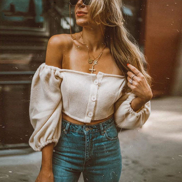 Amy Cropped Top | shoulder puff sleeve knitted women's shirt long sleeve crop
